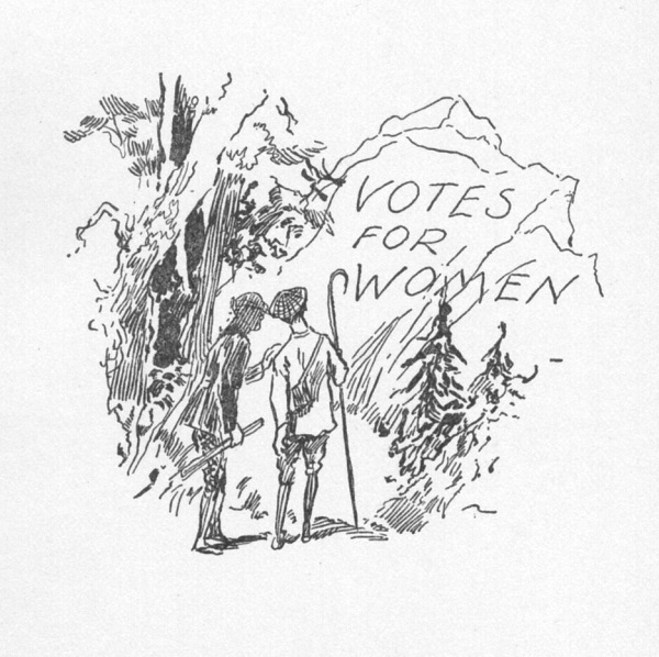 Line drawing of two men in hiking clothes looking at a boulder with Votes for Women carved on it.