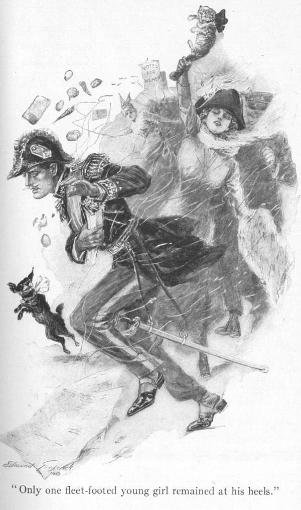 """A woman in a cocked hat waving a cat in an upraised hand chases a man in a uniform. The caption reads """"Only one fleet-footed young girl remained at his heels."""""""