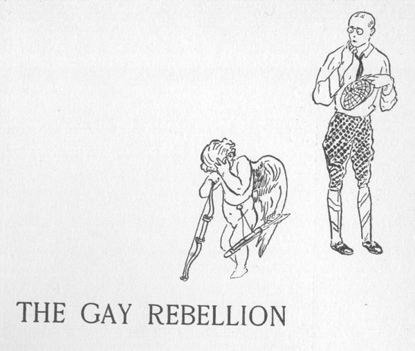 Title page of The Gay Rebellion with drawing of Cupid with a hand over his face and nervous-looking man in glasses behind him.