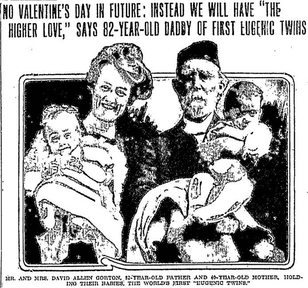 Illustration of Mr. and Mrs. Gorton each holding an infant.