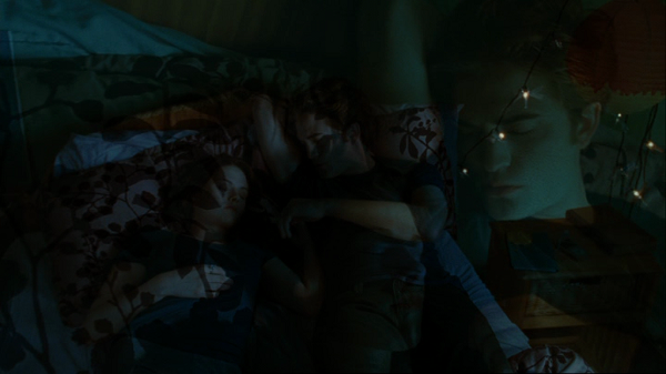 Transitional camera shot showing Edward and Bella asleep on a bed in a medium shot with a faint overlay of the upcoming close-up on them so that a larger faint image of Edward's face is also apparent.