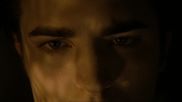 An extreme close-up showing part of Edward's forehead, his eyebrows, eyes, and nose with light reflecting off of them.