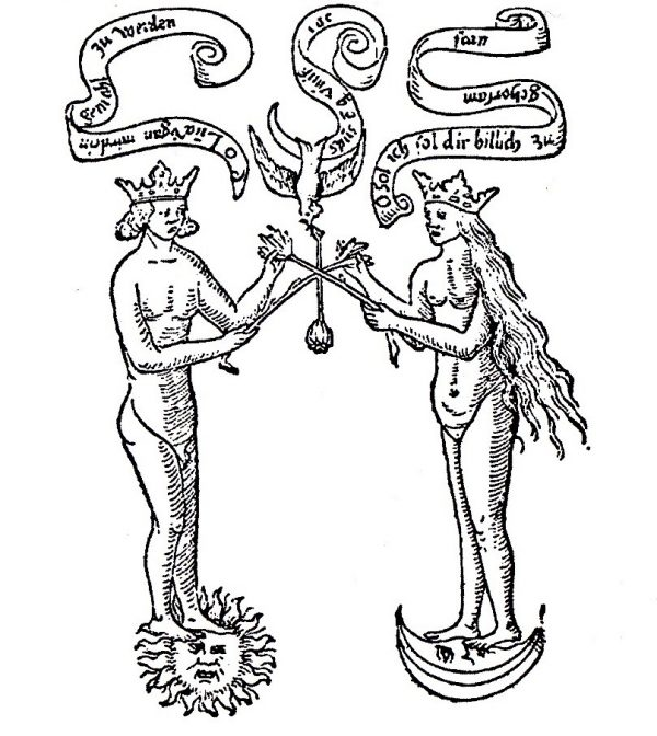 Black and white line drawing of a naked male figure on the left standing on a stylized sun facing a naked female figure on the right standing on a stylized moon. There is a bird between them, and ribbons of text coming from the moths of all three.